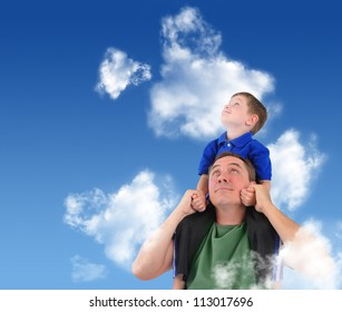 A father and son are looking up at the sky with clouds. The child is sitting on his dad's shoulders and looks happy.