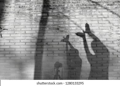Father and son made a shadow of a bird  on old wall