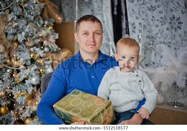 Father Son Near Christmas Tree Gifts Stock Photo (Edit Now
