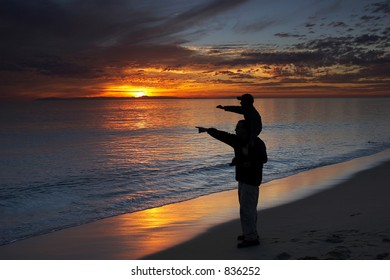 Father with son on shoulders pointing at the dolphins on the ocean at sunset