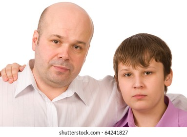 father and son on a white background closeup