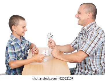 Father and son playing cards, isolated on white background