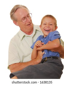 Father and son playing and laughing