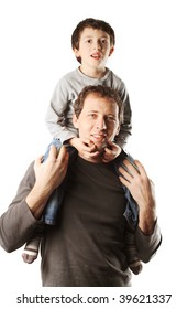 father and son portraits isolated on white background