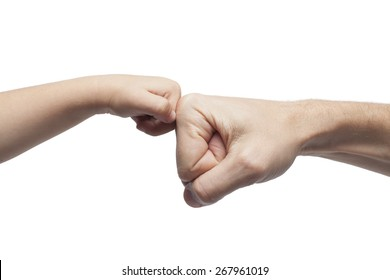 father and son punching fists/hands for agreement on white background.