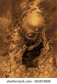 Father and son, sepia illustration, esoteric style