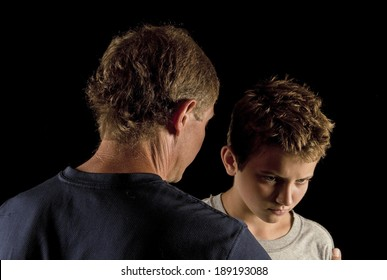 Father and son, serious talk - color