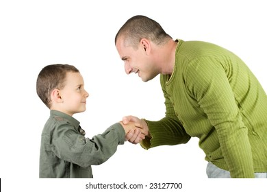 father and son shaking hands