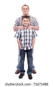 Father and son standing next to each other, isolated on white background