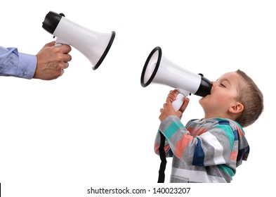 Father and son or teacher and pupil shouting at each other through megaphone