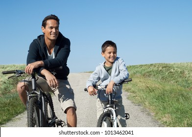 Father and son with their bikes