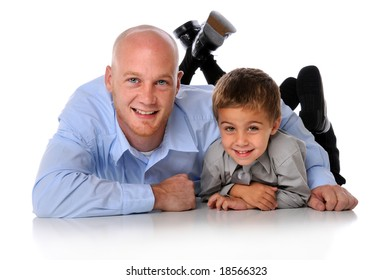 Father and son together isolated over a white background