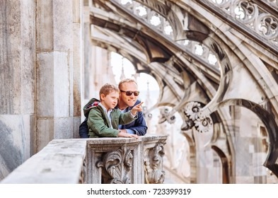 Father with son tourists are on the roof of Milan Cathedral - Duomo di Milano
