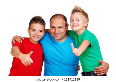 Father with sons showing thumbs up