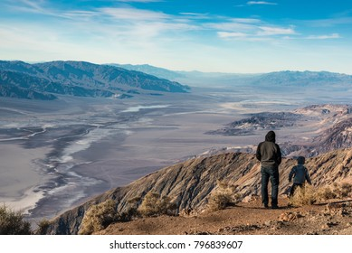 Father and Sun Watching Landscape of Death Valley National Park from Dante's View, California, United States