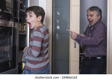 Father surprises his son taking candy