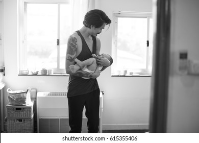 Father is taking care of his child.