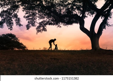 Father teaching his son to ride a bicycle ina beautiful sunset s