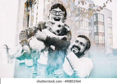 father throws son with the dog in the laughter, double exposure