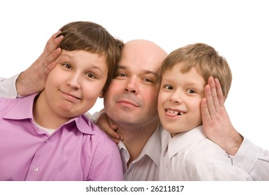 father with two sons on a white background