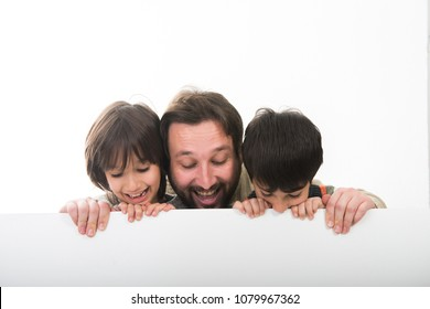 A Father and Two Sons with white banner