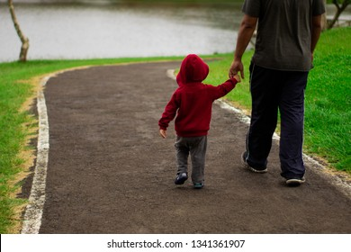 A father walking with his son in a beautiful day with a lake as background / Father and son walking and holding their hands