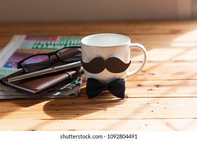 Fathers Day  with coffee cup with wooden backgroud.