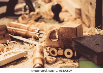 fathers day concept carpenter wood toy car craft,  diy timber.