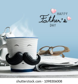 Father's day concept of coffee cup with mustache on wooden table