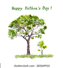 Father's day illustration. Big tree father and small spout child. Watercolor