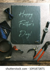 Father's day. Mens things on table.  Fathers accesories