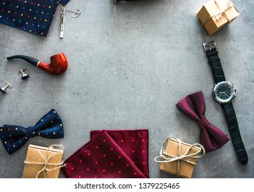 Father's day. Mens things on table.  Fathers accesories. Flatlay overhead view