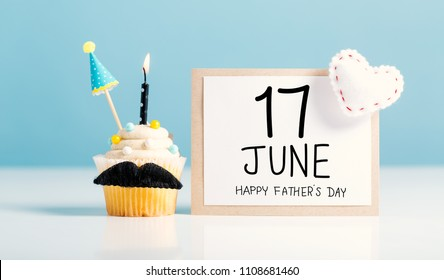 Father's day message with a cupcake with a moustache
