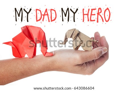 Fathers Day Message Made Origami Elephants Stock Photo Edit Now