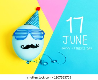 Father's day message with party balloon with hat and glasses