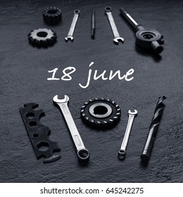 Fathers Day message with tool set. Black background. Toned.