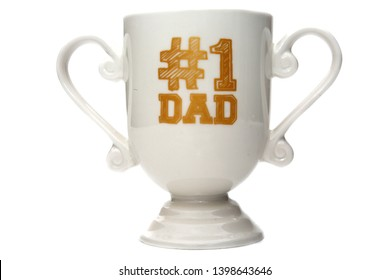 Fathers Day Mug. Isolated on white. Room for text. #1 Dad Coffee Cup.