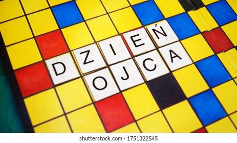 Father's day in polish - Dzień Ojca Letters Crossword on board