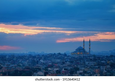 Fatih Camii or Conqueror's Mosque and panoramic view on Istanbul, Turkey.