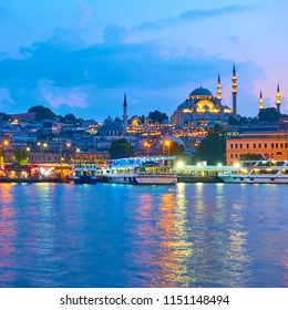 Fatih district with The Suleymaniye Mosque in Istanbul in the evening, Turkey