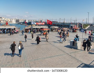 Fatih, Istanbul - March 14, 2020 : A weekend in Istanbul. General view of the historic Eminonu square. TURKEY