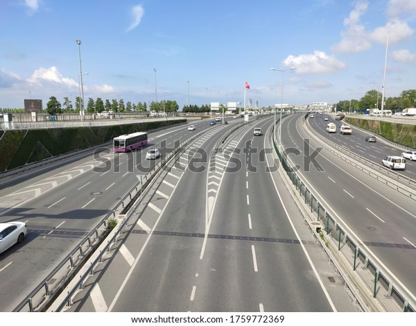 Fatih, Istanbul / Turkey - June 16, 2020: Kennedy street - O-3 Istanbul highway with no traffic. People are not going out in outbreak.