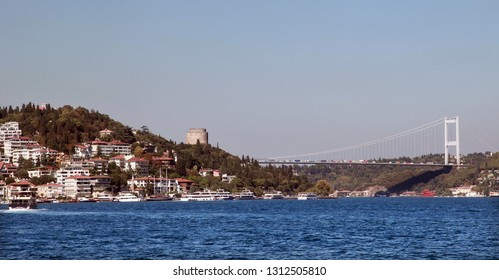 Fatih Sultan Mehmet Bridge and Anatolian Fortress in Istanbul, Turkey.