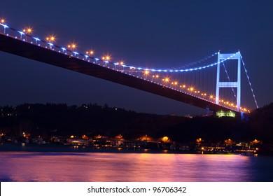 Fatih Sultan Mehmet Bridge at night,in Istanbul,Turkey