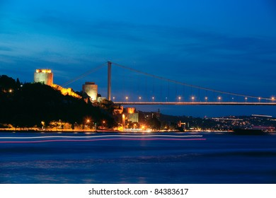 Fatih Sultan Mehmet Bridge and Rumeli Fortress at night in Istanbul,Turkey