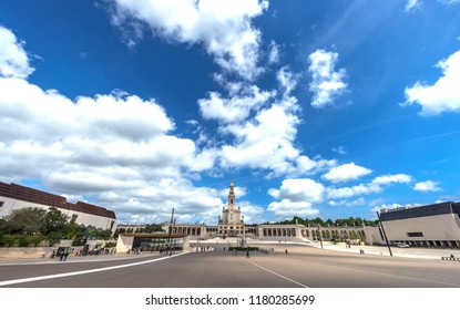 Fatima, Portugal - April 2018: square in front of the Sanctuary of Our Lady