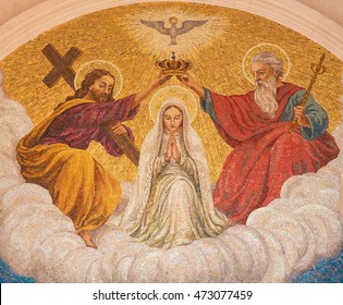 FATIMA, PORTUGAL - JULY 23, 2016: Painting of the Coronation of Mother Mary by the Holy Trinity at the Sanctuary of Fatima in Portugal.