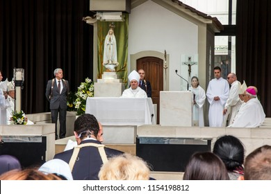FATIMA, PORTUGAL - June 13, 2018: Church ceremonies related to the apparitions. Among the bishops Antonio Augusto dos Santos Marto bishop of the Diocese of Leiria-Fatima is currently a cardinal.