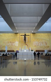 FATIMA, PORTUGAL - NOVEMBER 27: Inside the Church of Most Holy Trinity in Fatima, Portugal on November 27, 2010. Church of is the 4th largest Catholic Church in the World.