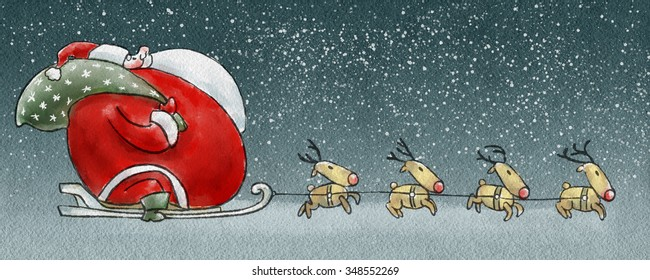 Fatty Claus rides in a reindeer sleigh in the snowy Christmas Eve. Cartoon illustration.